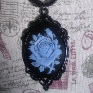Victorian Blue Rose Cameo NECKLACE Goth Halloween